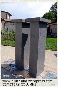 DIY Halloween Prop:  Cemetery Columns & Sign (1/6)