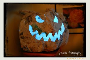 Progress on Paper Mache Pumpkin