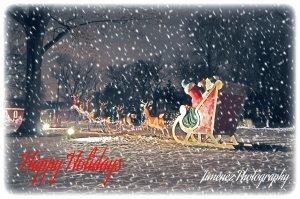 Santa in Sleigh Happy Holidays