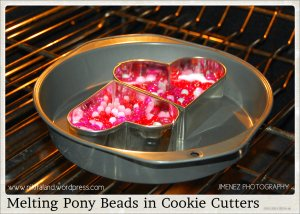 MELTING PONY BEADS IN COOKIE CUTTERS