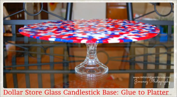 GLUE GLASS CANDLESTICK TO PLATTER