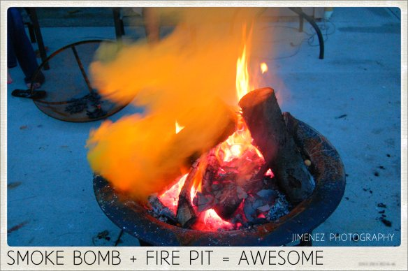 SMOKE BOMB IN FIRE PIT