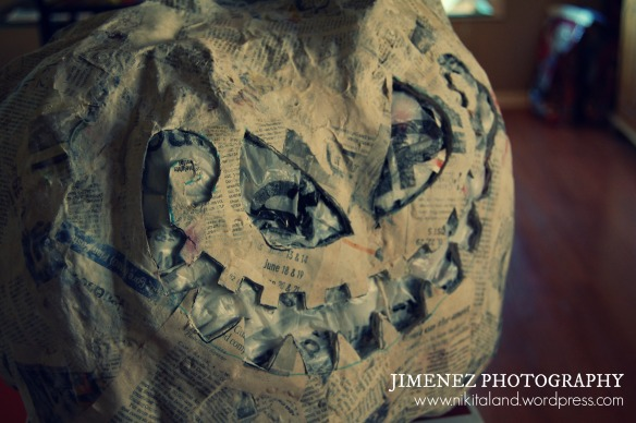PAPER MACHE PUMPKIN WITH CURVED MOUTH