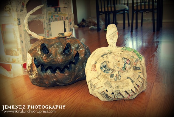 PAPER MACHE PUMPKINS IN PROGRESS