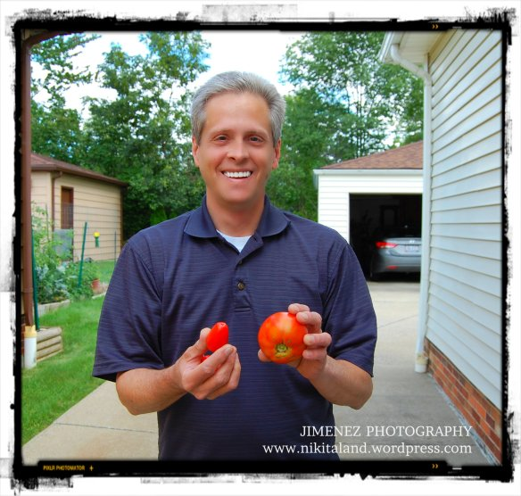ROY WITH FIRST PICKED TOMATOES