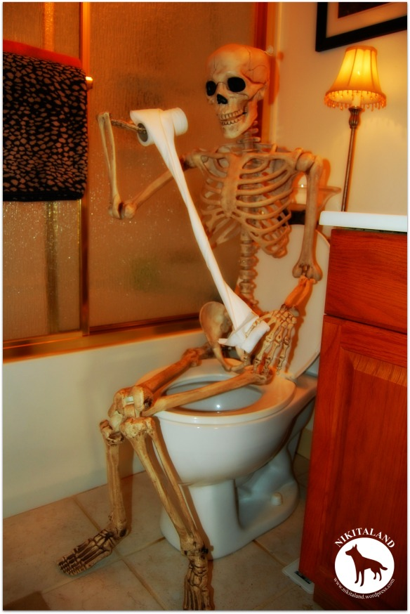 SKELETON ON TOILET