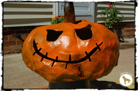 JACK SKELETON PAINTED PAPER MACHE PUMPKIN