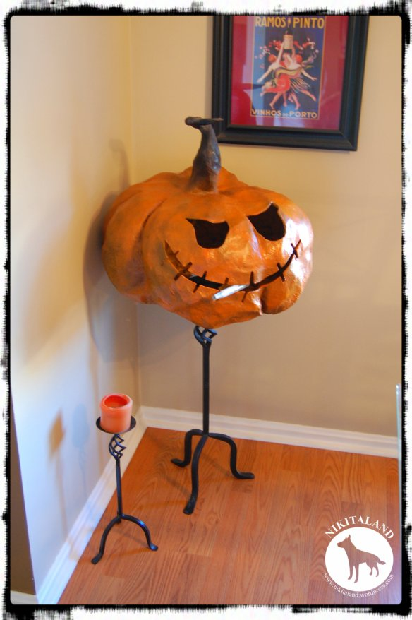 JACK SKELETON PAPER MACHE PUMPKIN IN KITCHEN