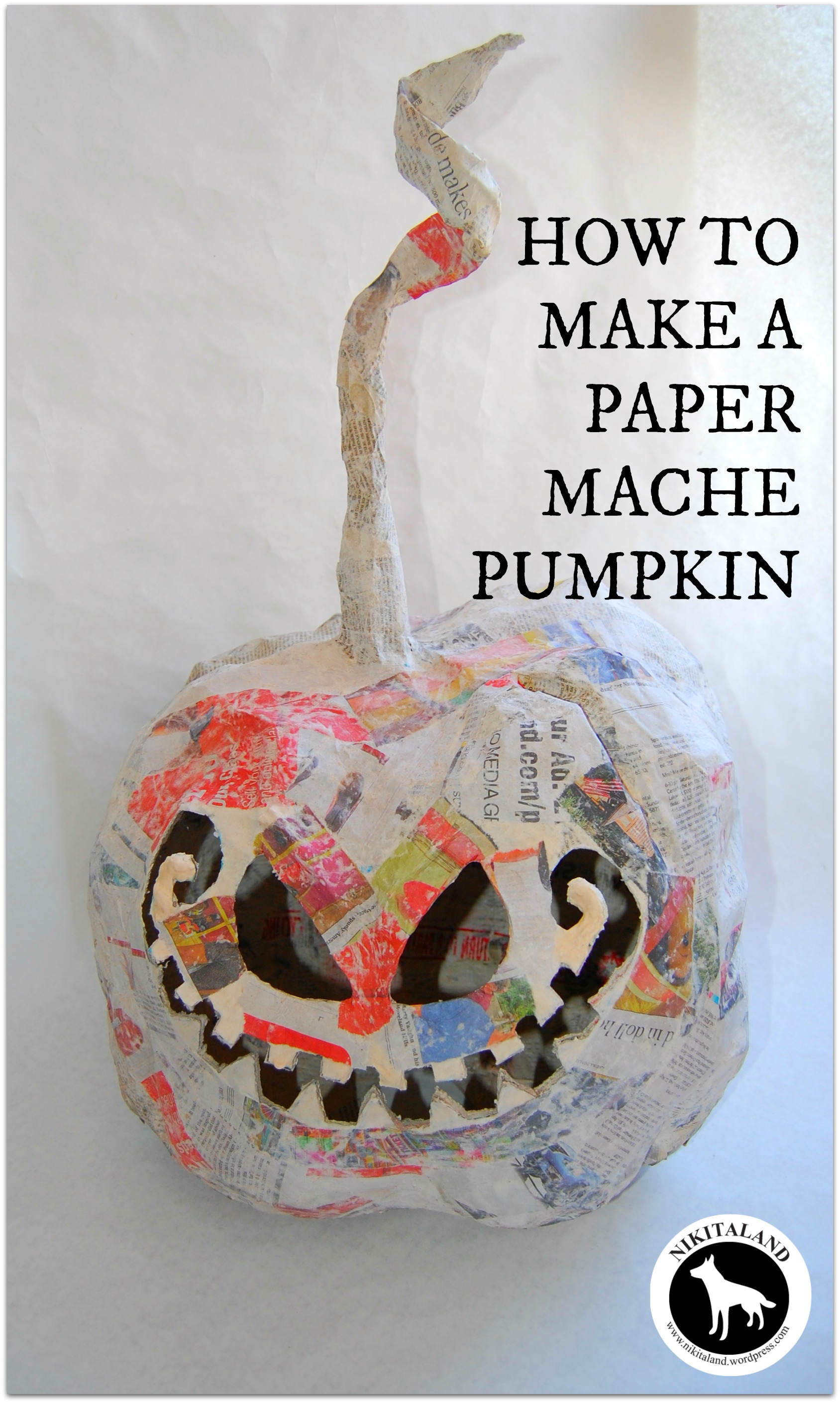 How to make paper mache pumpkins more nikitaland for Paper mache crafts