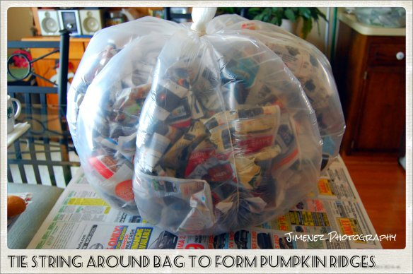 TIE STRING AROUND BAG TO FORM PUMPKIN