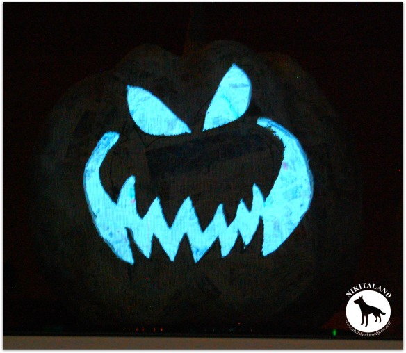 PAPER MACHE PUMPKIN NO 5 GLOWING