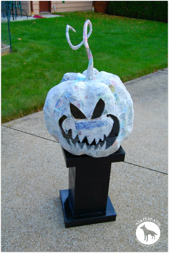 PAPER MACHE STAND AND PUMPKIN NO 5